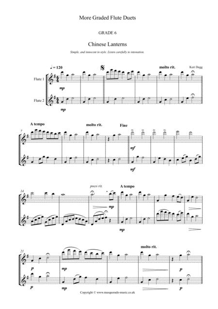 More Graded Flute Duets (intermediate to advanced) 24 duets in varying styles (swing, ragtime, contemporary, comedy and more) for 2 C flutes.