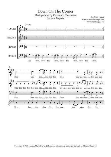Down On The Corner (TTBB a cappella)