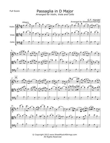 Handel. G. - Passaglia for Violin, Viola and Cello