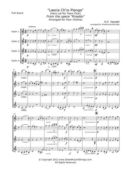 Handel, G. - Rinaldo for Four Violins