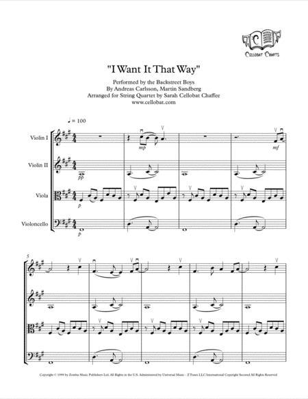 I Want It That Way - String Quartet - Backstreet Boys arr. Cellobat