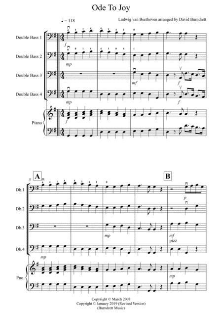 Ode To Joy for Double Bass Quartet