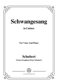 Schubert-Schwangesang,in f minor,for Voice and Piano
