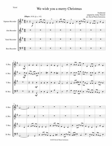 We wish you a merry Christmas for recorder quartet