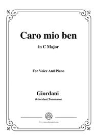 Giordani Tommaso-Caro mio ben,in C Major,for Voice and Piano
