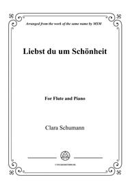 Clara-Liebst du um Schönheit,for Flute and Piano