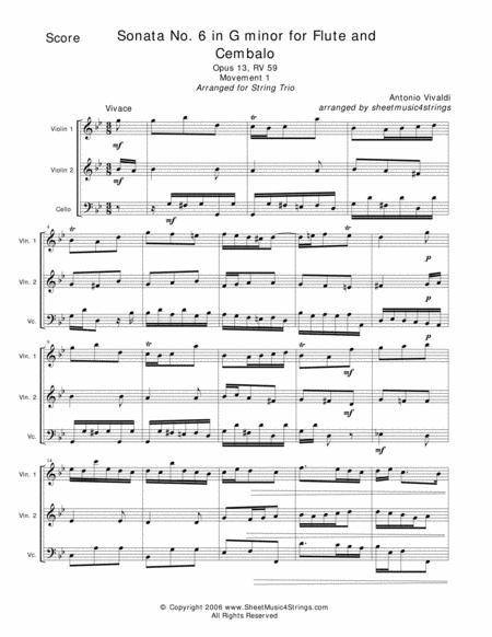 Vivaldi, A. - Sonata No. 6 Mvt. 1 for Two Violins and Cello