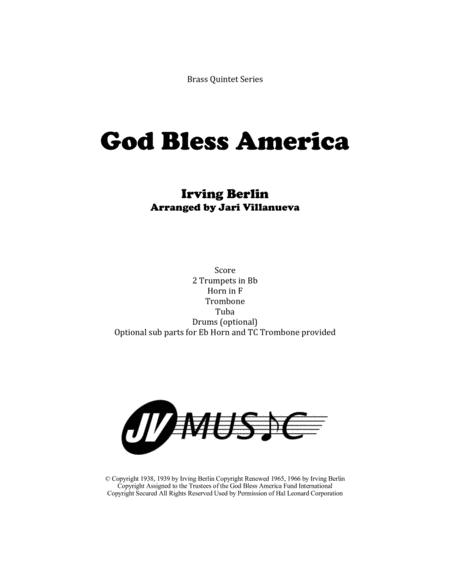 God Bless America for Brass Quintet with Optional Drums