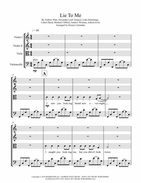 Download Lie To Me By 5 Seconds Of Summer For String Quartet Sheet