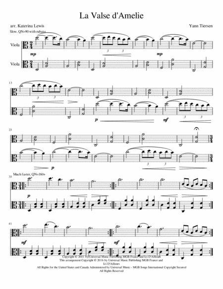 Download La Valse Damelie Viola Duet Sheet Music By Yann