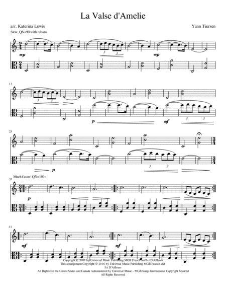 La Valse D'amelie (Violin Viola Duet)