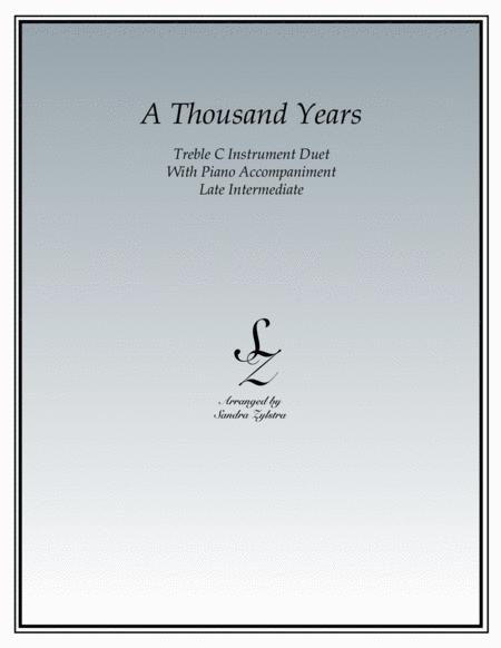 A Thousand Years (treble C instrument duet)