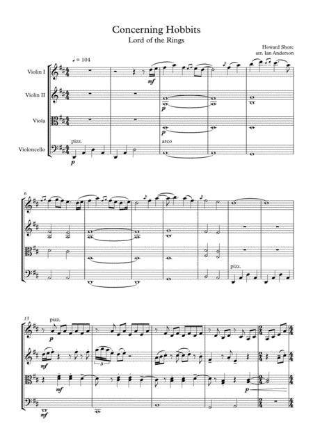 Lord of the Rings: Concerning Hobbits (string quartet)
