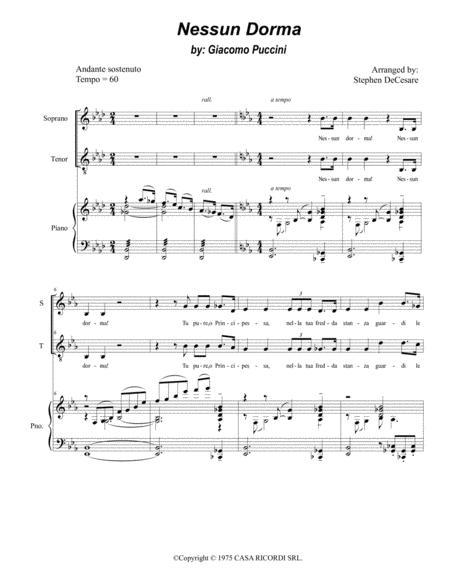 Nessun Dorma (for 2-part choir - Soprano & Tenor)