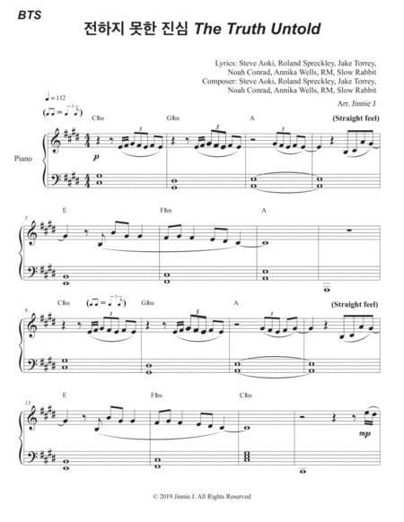 Download The Truth Untold By BTS For Piano (Easy Version
