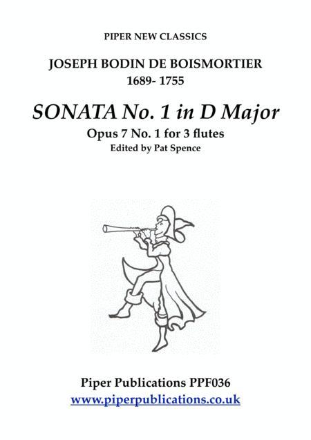 BOISMORTIER SONATA No. 1 in D MAJOR OPUS 7 No.1 for 3 flutes