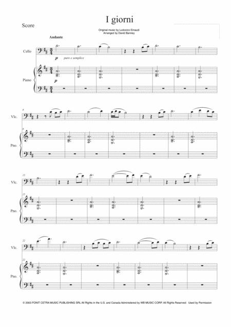 Download I Giorni For Cello And Piano Sheet Music By