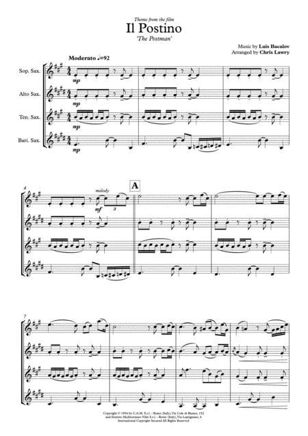 Il Postino (the Postman) Theme from the Film for SATB Saxophone Quartet