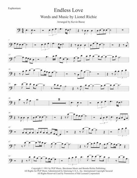 Endless Love (Easy key of C) Euphonium