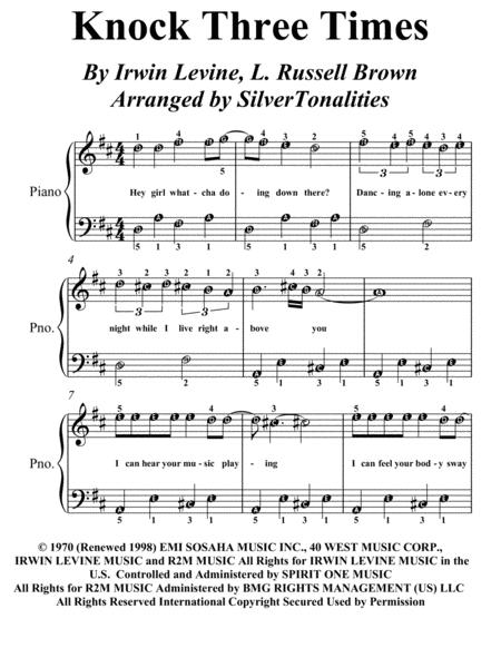 Knock Three Times Easy Piano Sheet Music