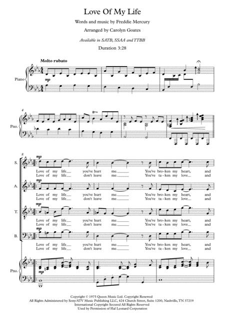 Love Of My Life (Queen) for SATB choir + piano