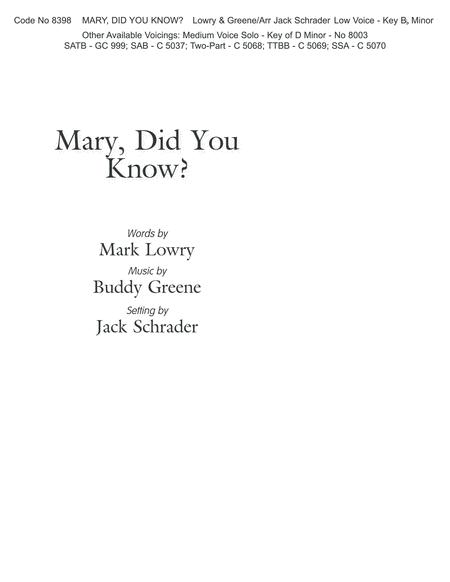 Mary, Did You Know? (Low Voice;Key of B-Flat Minor)-Digital Version