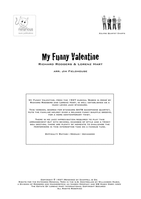 My Funny Valentine for Saxophone Quartet