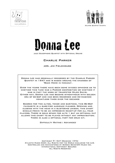 Donna Lee for Sax Quartet