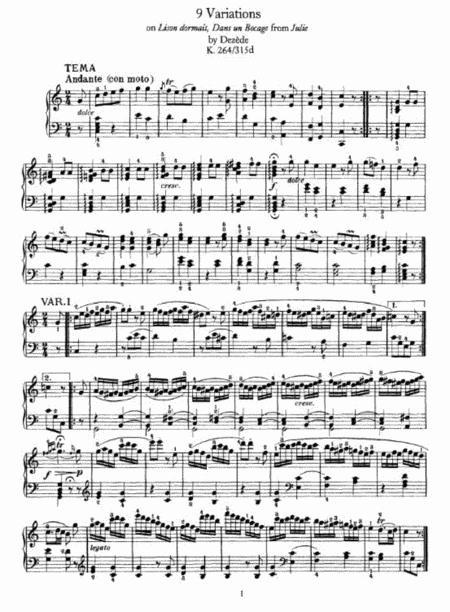 W. A. Mozart - 9 Variations on Lison dormait, Dans un Bocage from Julie by Dezède K. 264-315d