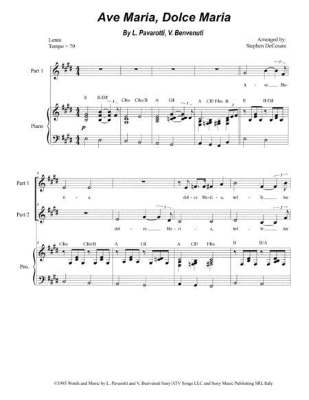 Ave Maria, Dolce Maria (for 2-part choir)