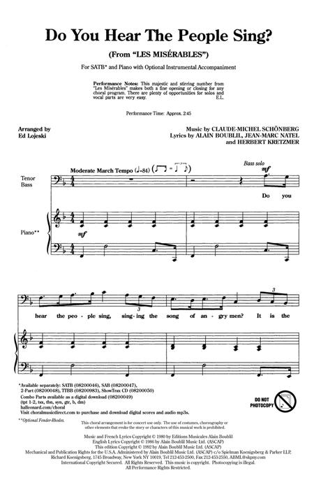 Do You Hear The People Sing? (from Les Miserables) (arr. Ed Lojeski)
