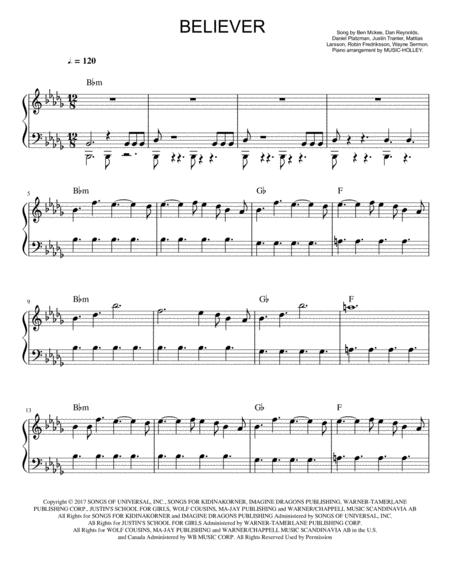 Imagine Dragons Believer Roblox Id Imagine Dragons Singer On Imagine Dragons Believer Easy Piano Sheet In Bb Minor By Imagine Dragons Digital Sheet Music For Individual Part Piano Reduction Sheet Music Single Download Print H0 510405 Sc001176617 Sheet Music Plus