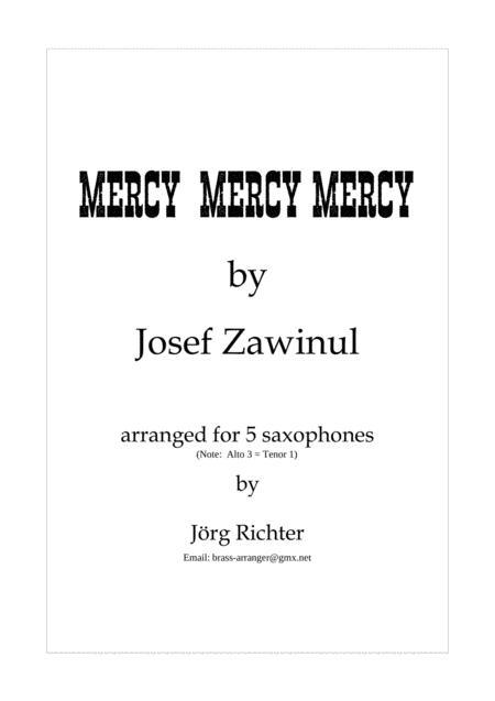 Mercy, Mercy, Mercy for saxophone quintet