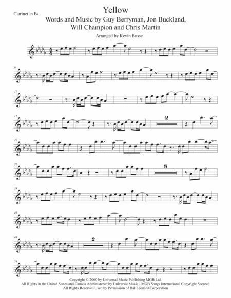 Yellow (Original key) Clarinet