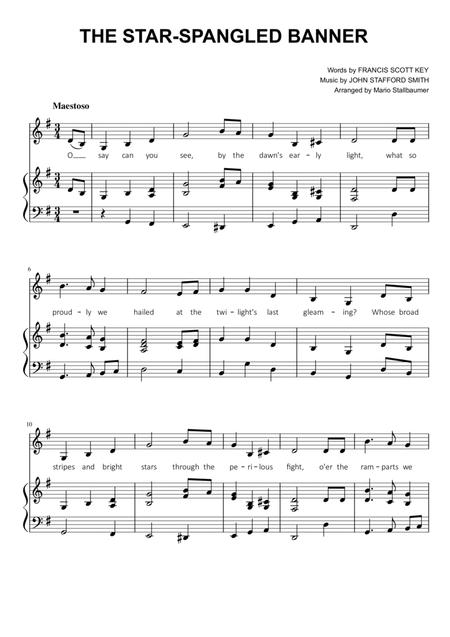 The Star Spangled Banner In G Major By John Stafford Smith Digital Sheet Music For Piano Solo Piano Vocal Chords Download Print S0 511227 From Mario Stallbaumer Self Published At Sheet Music Plus
