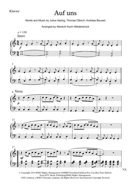Auf Uns - Andreas Bourani, Piano-Solo