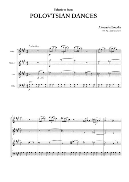 polovtsian dances for string quartet by alexander borodin (1833-1887) -  digital sheet music for score,set of parts - download & print s0.512547 | sheet  music plus  sheet music plus