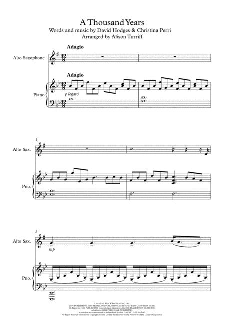 A Thousand Years – Clarinet and Piano