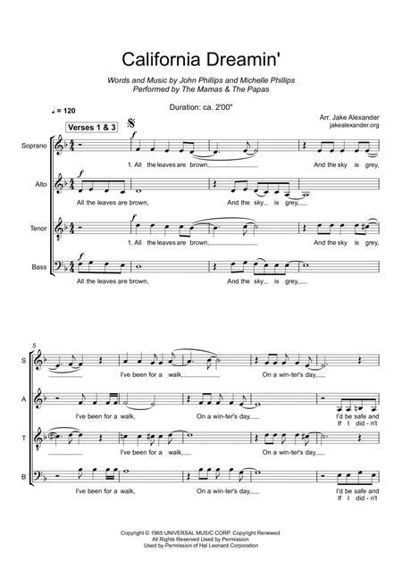 Download California Dreamin' - SATB Sheet Music By The Mamas & The