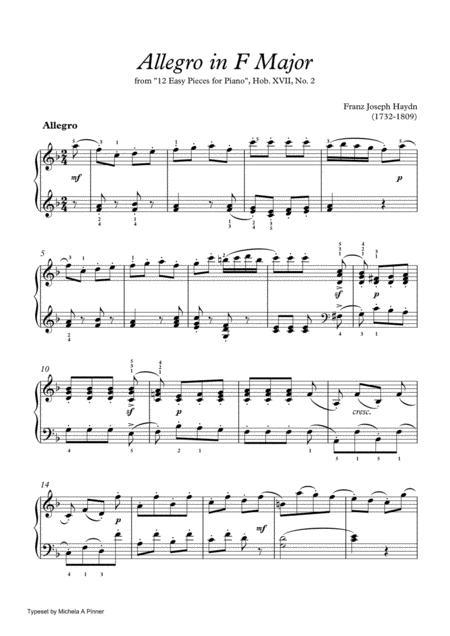 Allegro in F Major (Hob. XVII, No. 2) by Haydn