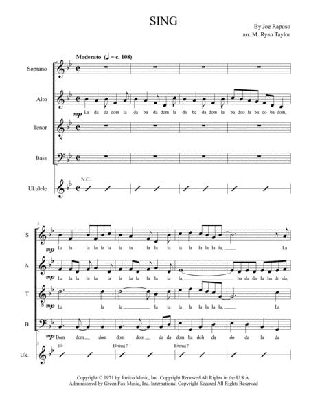 SING, Sing a Song (Carpenters / Sesame Street) for SATB Choir and opt. ukulele chords