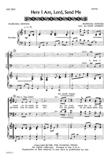 Download Here I Am, Lord, Send Me Sheet Music By Glen Aubrey - Sheet