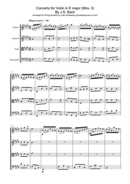 Bach: Concerto for Violin in E major Mov 3 for String Quartet - Score and Parts