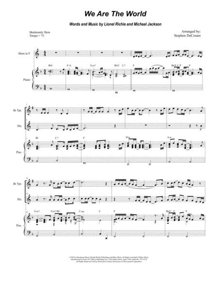 We Are The World (Duet for Bb-Trumpet & French Horn)
