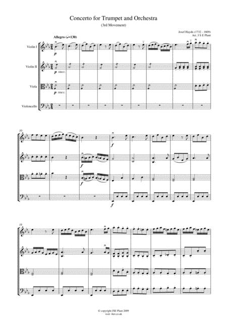 Haydn: Trumpet Concert in Eb Major (Mov 3) for String Quartet - Score and Parts