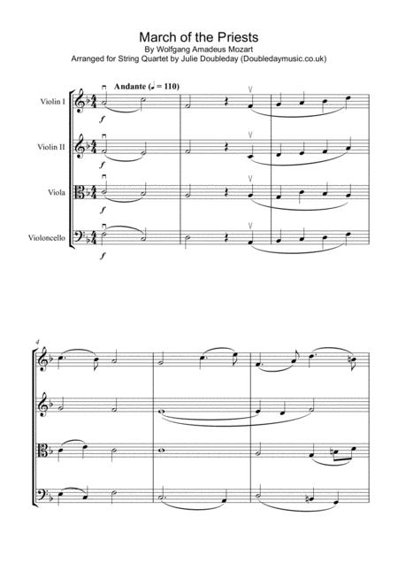 Mozart: March of The Priests from The Magic Flute for String Quartet - Score and Parts