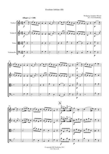 Mozart: Exultate Jubilate for String Quartet - Score and Parts