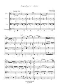 Brahms: Hungarian Dance No.5 in G Minor for String Quartet - Score and Parts