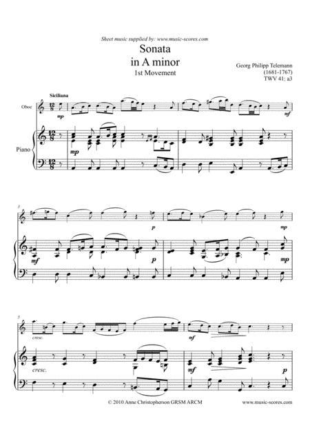 Telemann Sonata in A Minor TWV 41:a3, 1st Movement - Oboe and Piano