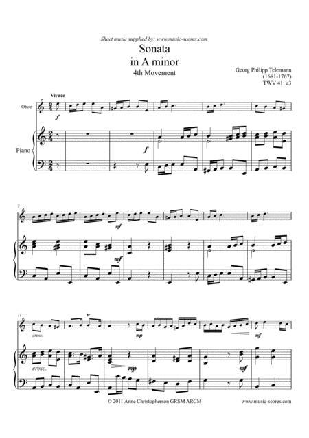 Telemann Sonata in A Minor TWV 41:a3, 4th Movement - Oboe and Piano
